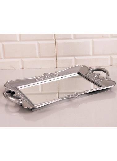 Bayev Polyester Dikdörtgen Büyük Aynalı Tepsi Gümüş Gümüş
